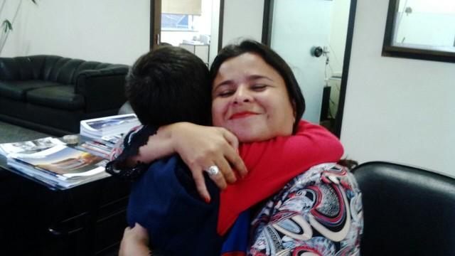 Dione Aguiar e fã mirim (Foto: Arquivo Pessoal)