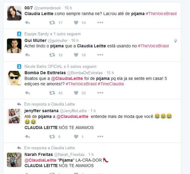 Internautas comentam look de Claudia Leitte na estreia de The Voice Brasil (Foto: Reprodução/Twitter)