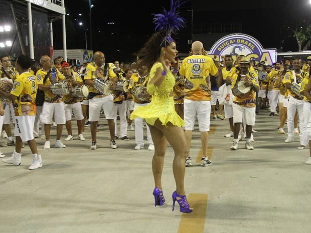 Juliana Alves em ensaio técnico da Unidos da Tijuca na Marquês de Sapucaí, no Centro do Rio (Foto: Thyago Andrade/ Foto Rio News)