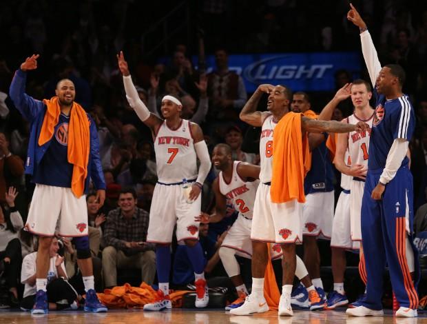 New York Knicks, comemoração contra o Miami Heat (Foto: Getty)