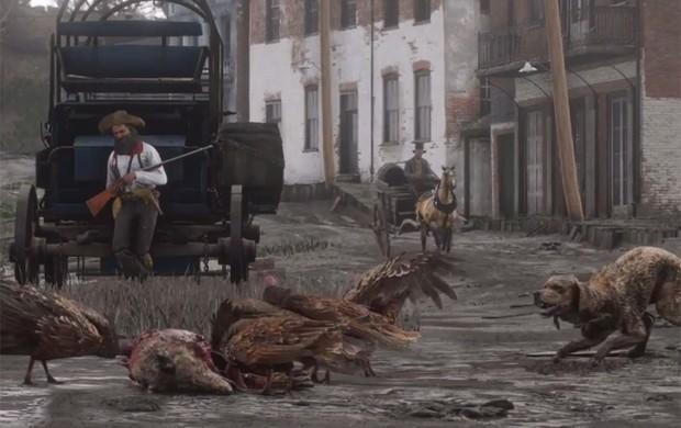 'Red Dead Redemption 2' terá vários tipos de animais, como cachorros, aves e bisões (Foto: Reprodução/YouTube/Rockstar Games)