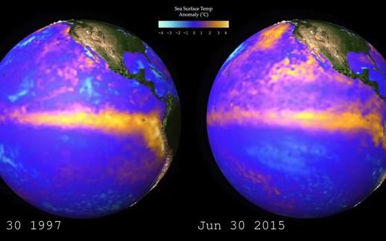Comparação do fenômeno El Niño em 1997 e 2015 (Foto: NOAA)