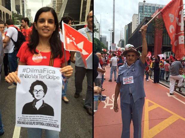 Camila Tenório Cunha e José Alves de Castro foram ao ato pró-Dilma na Paulista (Foto: Karina Godoy/G1)