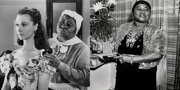 """Hattie Mcdaniel em """"...E O Vento Levou"""" com Vivien Leigh e quando ganhou o Oscar (Foto: Agência Getty Images)"""