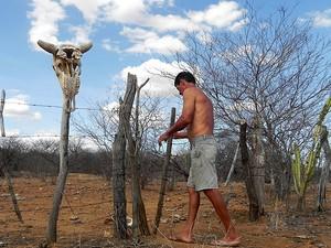 Antônio Silva viu seus animais morrerem de sede e de fome na Paraíba (Foto: Taiguara Rangel/G1)
