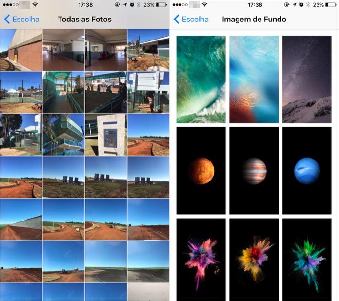 Use imagens da sua galeria ou os planos de fundo padrões da Apple (Foto: Reprodução/Helito Bijora)