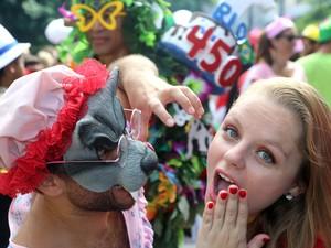 Foliões se divertem durante o bloco Suvaco do Cristo, um dos mais tradicionais da cidade (Foto: Fernando Maia/Riotur)