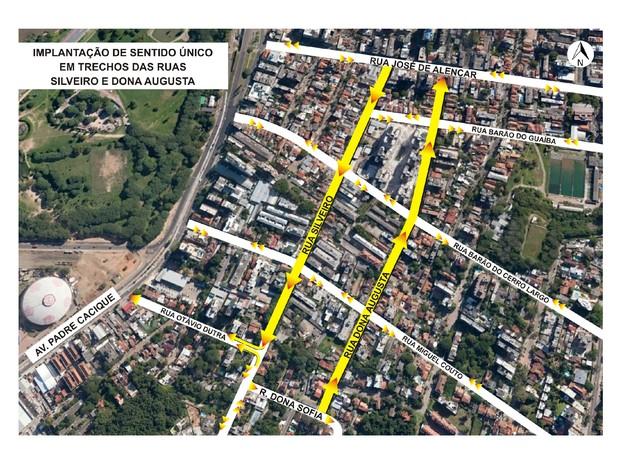 Trecho da Silveiro e Dona Augusta terão sentidos únicos de circulação  (Foto: Divulgação/PMPA)