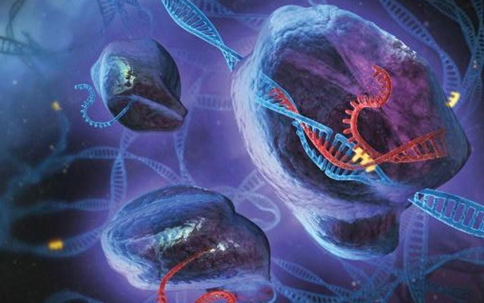 Ilustração mostra atividade da CRISPR alterando a sequencia genética de molécula de DNA (Foto: S. Dixon/F. Zhang/Divulgação)