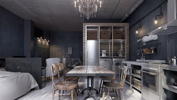 Est dio de 40 m com estilo industrial casa vogue for Decorar piso tipo loft