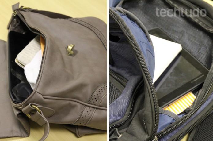 Xoom 2, dentro de uma bolsa feminina e de uma mochila (Foto: Marlon Câmara / TechTudo)