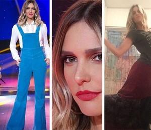 Fernanda Lima à esquerda com o look do Top 8 e à direita com a saia da Bellamore; apresentadora agradeceu o presente nas redes sociais (Foto: Arquivo pessoal)