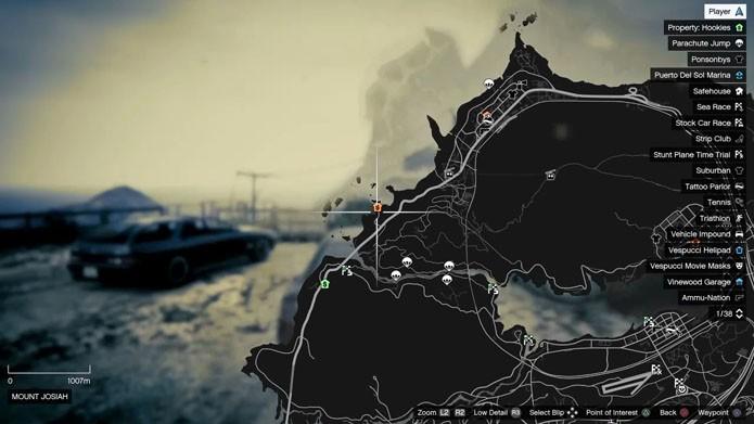 Localização do submarino no mapa de Los Santos (Foto: Reprodução/André Mello)