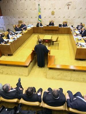 Advogados fazem a defesa dos réus  no julgamento do mensalão no STF. (Foto: Nelson Jr./SCO/STF)