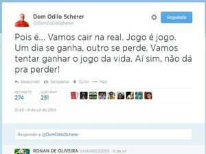 Post de Dom Odilo no Twitter (Foto: Reprodução/Twitter)