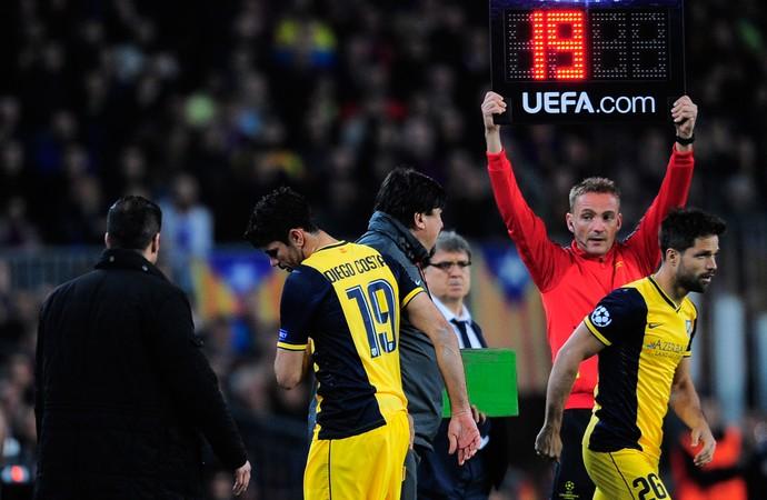 Diego Costa e Diego, Barcelona x Atlético de Madrid (Foto: AP)