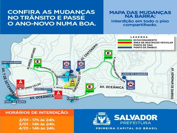 Mapa do Réveillon na Barra (Foto: Divulgação/Prefeitura de Salvador)