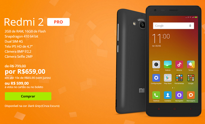 Redmi 2 Pro tem promoção no site da Xiaomi (Foto: Divulgação/Xiaomi)