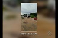 Córrego transbordou e comprometeu trecho com BR-155, em Xinguara