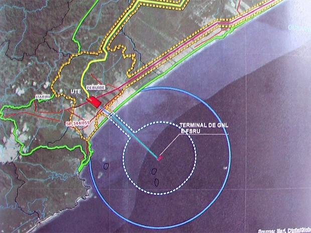 Planta apresentada na Cetesb prevê UTE e terminal offshore (Foto: G1)