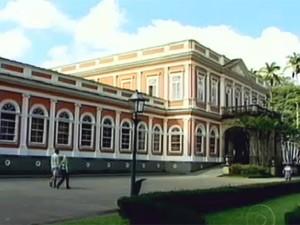 O Museu Imperial de Petrópolis não foi afetado pelas chuvas. (Foto: Reprodução TV Globo)