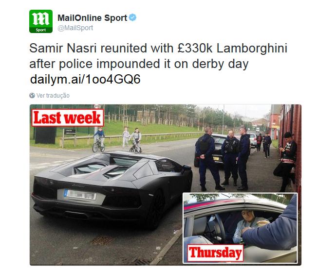 BLOG: Nasri aparece em treino com Lamborghini apreendida pela polícia na última semana