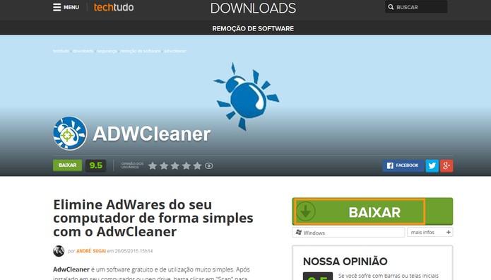 Faça o download do ADWCleaner no TechTudo Downloads (Foto: Reprodução/Barbara Mannara)