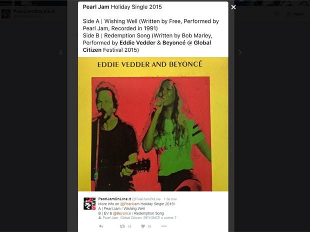 Canal de fãs do Pearl Jam informa que dueto de Eddie Vedder e Beyoncé cantando 'Redemption song', de Bob Marley, vai estar no novo Ten Club Holiday Single (Foto: Reprodução/Twitter/PearlJamOnLine.it)