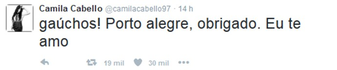 Camila Cabello fez questão de postar em português (Foto: Reprodução Internet)