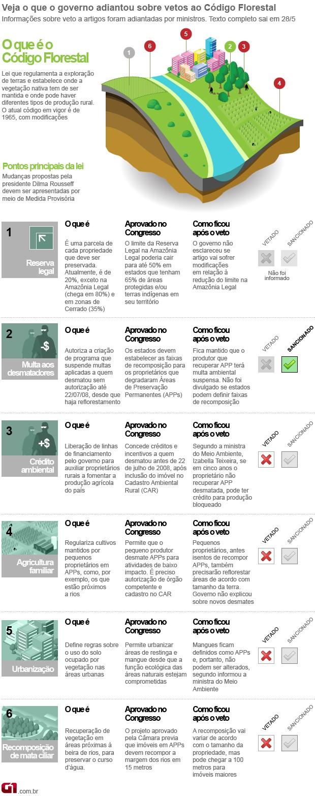 Info Código Florestal versão 3 (Foto: arte/G1)