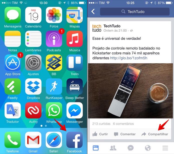 Abra o aplicativo do Facebook para compartilhar uma publicação (Foto: Reprodução/Helito Bijora)