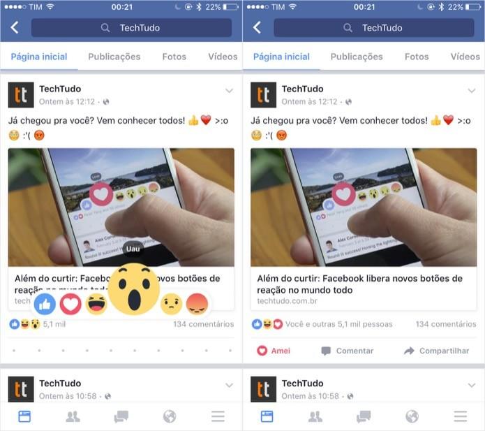 Aplicando uma reação pelo Facebook para celular (Foto: Reprodução/Helito Bijora)
