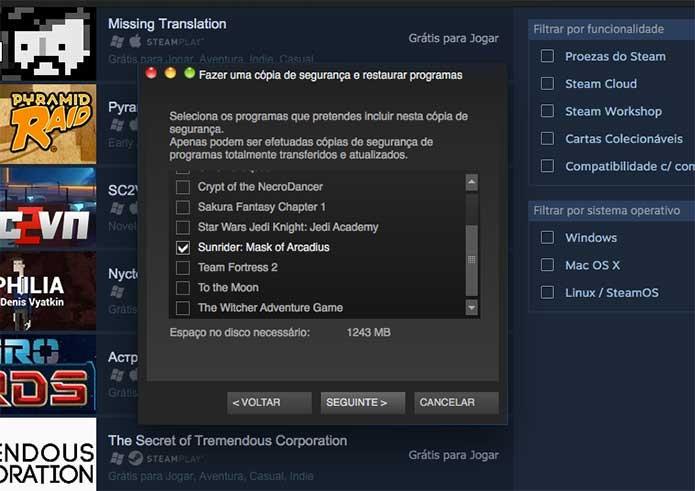 Defina o game do Steam a ser copiado (Foto: Reprodução/Felipe Vinha)