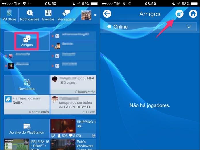 Na página inicial do app, clique em Amigos e, depois, no ícone do canto direito superior da tela (Foto: Reprodução/Lucas Mendes)