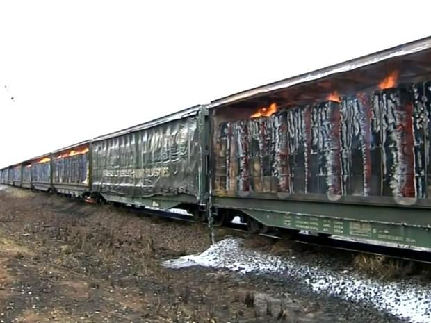 Incêndio começou porque veículo passava por canavial em chamas (Foto: Reprodução / TV TEM)