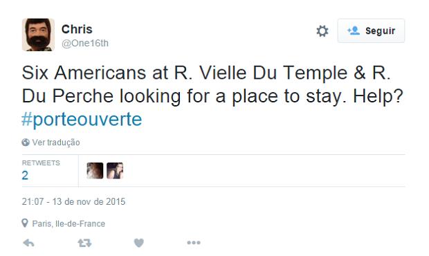 Seis americanos procuram lugar para se abrigar e pedem ajuda pelo Twitter (Foto: Reprodução/Twitter)