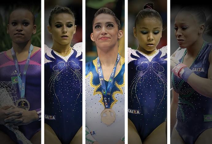 MONTAGEM - Daniele Hypolito, Flávia Saraiva, Jade Barbosa, Lorrane dos Santos e Rebeca Andrade (Foto: Editoria de Arte)