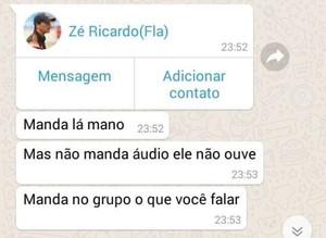 Print de mensagens com celular de Zé Ricardo, treinador do Flamengo (Foto: Reprodução)