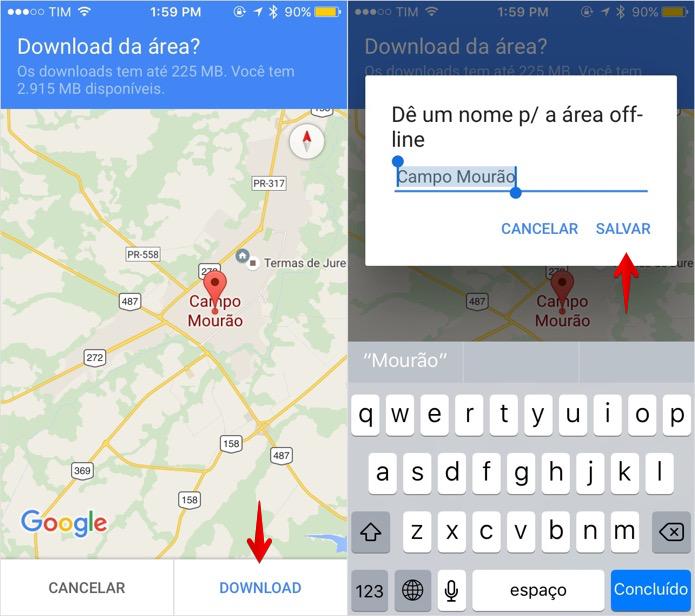 Salvando um mapa para acesso offline (Foto: Reprodução/Helito Bijora)