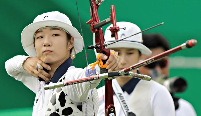 Tiro com arco coreia do sul feminino (Foto: Yves Herman/Reuters)