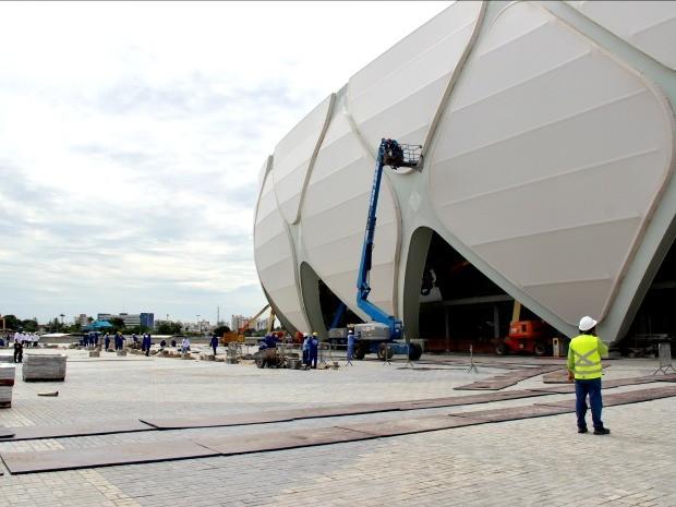 Área externa da Arena da Amazônia, em Manaus (Foto: Isabella Pina/Globoesporte.com)