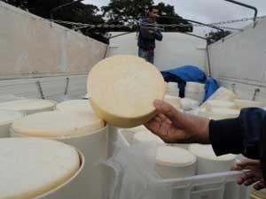 Carga de queijo apreendida no DF por causa de transporte irregular (Foto: Agência Brasília/Divulgação)