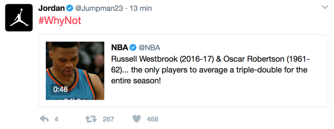 Twitter Michael Jordan Westbrook NBA (Foto: Reprodução Twitter)