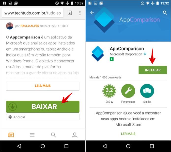 Baixe o AppComparison no TechTudo Downloads' (Foto: Reprodução/Helito Bijora)