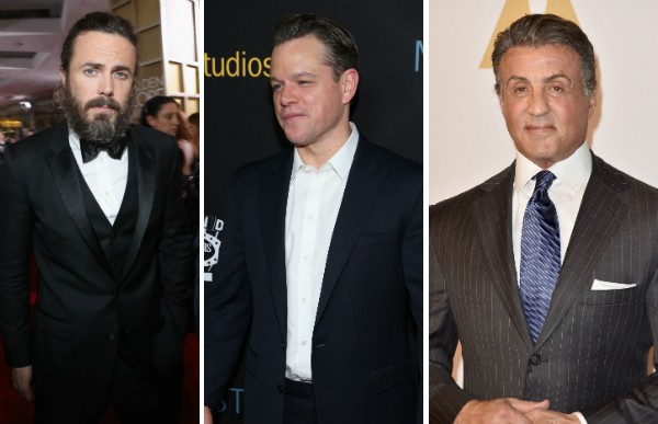 Casey Affleck, Matt Damon e Sylvester Stallone (Foto: Getty Images)