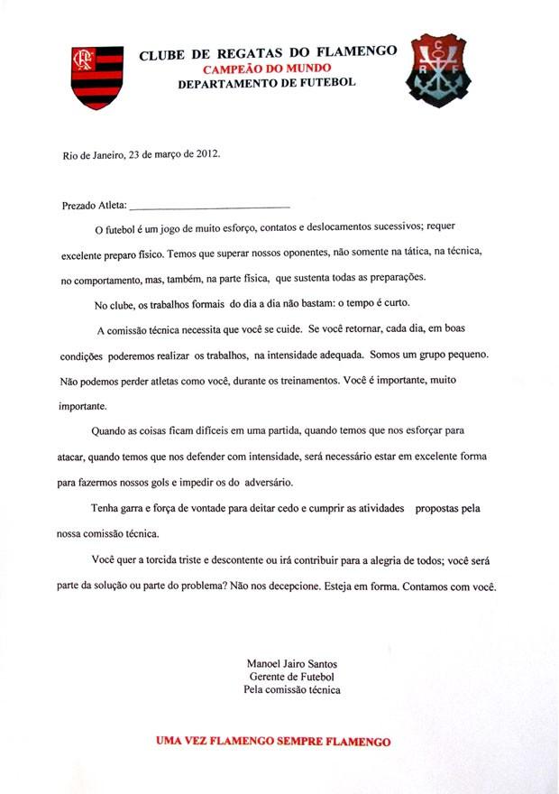 carta Flamengo jogadores recomendações (Foto: Reprodução)
