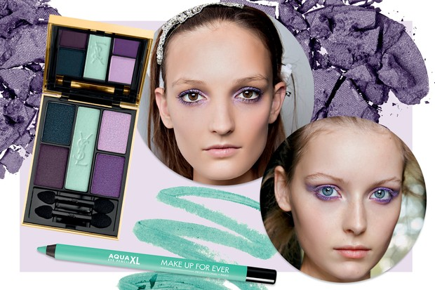 Lápis XL cor Matte Pastel Green, Make Up For Ever e sombras Ombres 5 Lumiéres cor Midnight Garden, R$ 279, YSL. Ao lado, beleza dos desfiles: N° 21 e  Veronique Leroy (Foto: Imaxtree, Condé Nast Digital Archive, Thinkstock e Divulgação    )