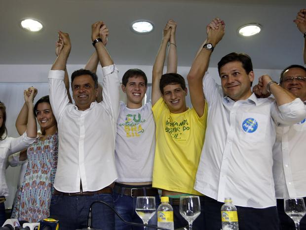 Aécio Neves, filhos de Eduardo Campos, Beto Albuquerque, Pernambuco, Recife (Foto: André Dusek/Estadão Conteúdo)