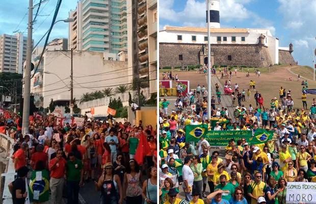 Salvador teve protestos contra Dilma e contra Temer neste domingo (Foto: Juliana Almirante/G1 e Alan Alves/G1)