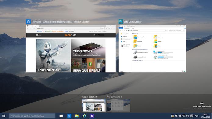Desktops virtuais do Windows 10 (Foto: Reprodução/Helito Bijora)  (Foto: Desktops virtuais do Windows 10 (Foto: Reprodução/Helito Bijora) )